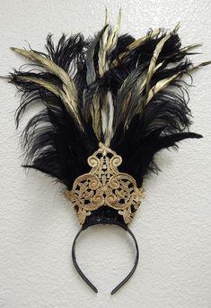Egyptian gold black Ostrich Feather Belly Dance Headdress Cabaret Headpiece
