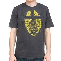 Men's 52% cotton / 48% poly charcoal heather t-shirt with 3-color screenprint on front.