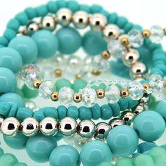 Fashion Korean Diamond Style Blue Resin Pearl Handmaking Crystal Flower Charm Bracelets for Girls