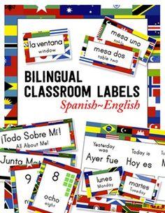 Bilingual Spanish-English Classroom Label Pack ~ World Flags