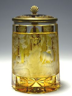 Clear Glass Stained Amber, Deep Wheel-Cut Forest Scenes, Matching Glass Inlaid Lid, Brass Mounts - Bohemain   c.1860