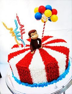 Curious George or Circus Cake Curious George Party, Curious George Cakes, Curious George Birthday, Carnival Birthday Parties, Circus Birthday, 3rd Birthday, Birthday Party Themes, Circus Party, Birthday Ideas