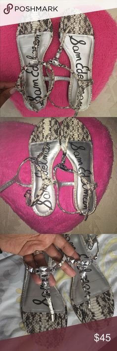 sam edelman snake print crystal sandals Gently used in excellent condition sam edelman snake print crystal sandals! Must have for the summer Sam Edelman Shoes Sandals