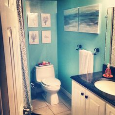"I like this bathroom color and the little ocean themed decorations ""Andrée's Quick 'n Easy Bathroom Makeover ~ Marketplace Events"""
