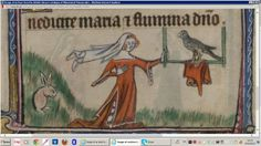 Taymouth Hours: Overdress is lined in fur. Her closed hood with a short liripipe is hanging over the falcon perch.
