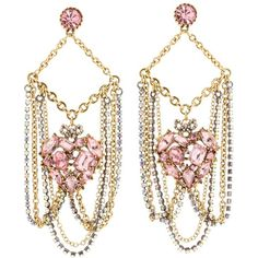 Betsey Johnson Cupid's Arrow Pave Heart Chain Chandelier Earrings ($65) ❤ liked on Polyvore featuring jewelry, earrings, women, pink earrings, chains jewelry, post earrings, pink jewelry and chandelier earrings