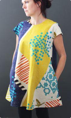 Swing Frock   Sewing Pattern Kit   Echino Landscape