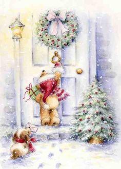 Скрапбукинг, рукоделие, Новогодние картинки с мишками