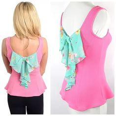 """Pink Crepe Flower Bow Back Stretch Top Small Bow Back Top  Size  Small  Fabulous top!  Beautiful shade of pink!  Textured crepe like fabric.  Lightweight and perfect for spring an summer.  Love the floral bow down the back.  100% polyester.  Lots and lots of stretch to this top for a perfect and comfortable fit.  Please check my closet for many more items including scarves and jewelry.    All measurements are taken with garment laying flat.  Armpit to armpit up to 37""""  Waist up to 33""""…"""