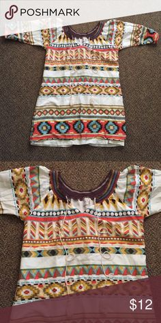Funky People Tunic Dress Adorable loose fitting tunic or use as a dress! Super cute! Worn only once! Tops Tunics