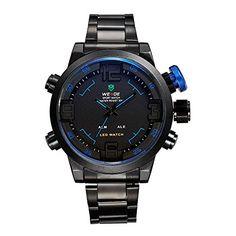 Mens Watch Army Military Sports Alarm Black Metal Band Dual Time LED Blue  Hands WH151   b69495b2c4b