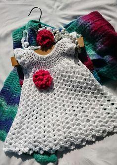 Crochet baby dress with hairband