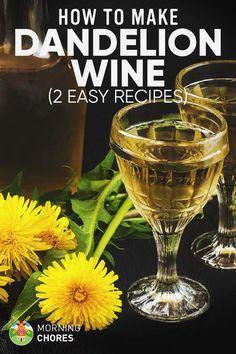 Dandelion Wine Recipe: 2 Ways to Make Delicious Wine out of This Weed Drinks Dandelion Wine Recipe: 2 Ways to Make Delicious Wine out of This Weed Homemade Wine Recipes, Homemade Alcohol, Homemade Liquor, Dandelion Recipes, Easy Apple Wine Recipe, Dandelion Uses, Dandelion Jelly, Alcohol Recipes, Mead