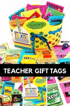 Teacher Candy Gift Tags download Teacher Appreciation Gift Ideas Includes candy gift tags to give staff before spring, summer or winter break. Energy can run high during the week prior to school breaks. Treat the staff to a quick pick-me-up to carry them