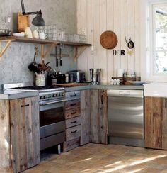 Bare wood kitchen cabinets.