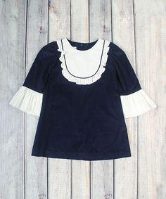 Navy Corduroy Ruffle Jordan Dress - Infant & Toddler