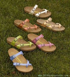Check out all these amazing colors Birkenstock offers! I have a couple of pair of this 'style' and they're AWESOME! Cute Sandals, Cute Shoes, Me Too Shoes, Shoes Sandals, Birkenstock Sandals Outfit, Birkenstocks, Birkenstock Mayari, Sock Shoes, Shoe Boots