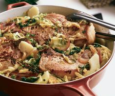 Pork Chops with Beer, Cabbage & Apples Recipe