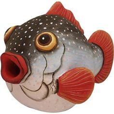 Puffer Fish Birdhouse inspiration for puffer fish puppet. I like the colors and detail.