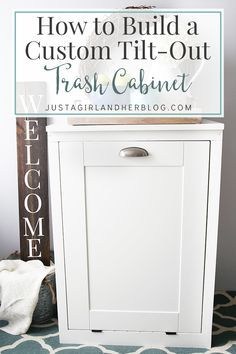 Kitchen Cabinet How to Build a Custom Tilt-out Trash Cabinet. Keep your kitchen elegant and organized with this helpful DIY project! - This custom tilt-out trash cabinet is awesome for hiding ugly trash cans and can be customized to match your kitchen! Diy Wood Projects, Furniture Projects, Home Projects, Diy Furniture, Primitive Furniture, Kitchen Furniture, Furniture Plans, Luxury Furniture, Diy Interior