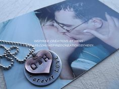 Hand stamped and oxidized necklace perfect for Valentine's Day.  Head over to www.FB.com/inspiredcreationsbyheidi to purchase. (P.S. That is my hubby and I 13 years ago on our wedding day)