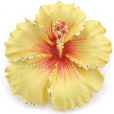 yellow hawaiian hibiscus swarovski crystal flower pin brooch and pendant