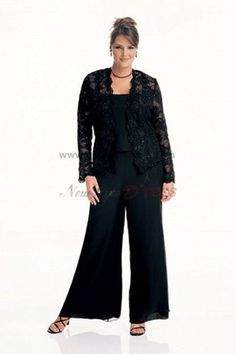 2adccfcba545f black lace Latest Fashion Three Piece mother of the bride dress pants sets  - Mother Of The Bride Pantsuits