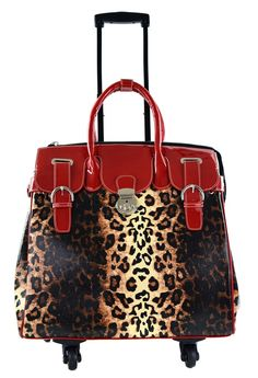 Leopard 360 Degree Spinners Travel Trolley Roller Rolling Wheel Bag RED ** Check out the image by visiting the link. Leopard Purse, Red Leopard, Rolling Laptop Bag, Marc Jacobs Handbag, Backpack For Teens, Leopard Fashion, Cute Tote Bags, Designer Wallets, Wholesale Handbags