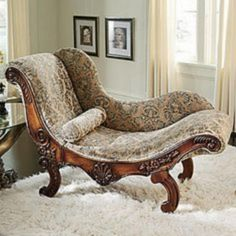 Victorian chaise - unlike lots of Victorian furniture, this piece looks amazingly comfortable. Beautiful woodwork chaise - unlike lots of Victorian furniture, this piece looks amazingly comfortable. Unique Furniture, Rustic Furniture, Vintage Furniture, Furniture Decor, Outdoor Furniture, Furniture Layout, Cheap Furniture, Furniture Design, Furniture Direct