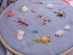 misako mimoko: Embroidery Workshop at the Beach. Sealife and shells.