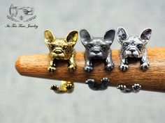 French Bulldog Ring, Adjustable Gold 3D realistic puppy animal ring, Dog wrap around ring, doggy jewelry R0029G  http://itsteatimejewelry.storenvy.com/collections/1235565-rings/products/15287232-french-bulldog-ring-adjustable-gold-3d-realistic-puppy-animal-ring-dog-wra