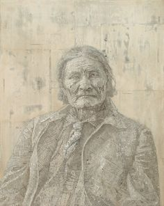 Geronimo, 2007, Maps and atlas pages on wood panel by Matthew Cusick