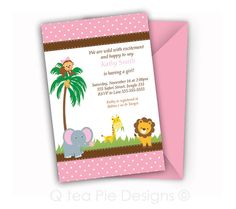 Safari Baby Shower Invitation  Baby Girl  by Qteapiedesigns, $12.00