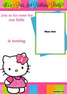 Free Printable Photo Birthday Invitations – Bagvania Free intended for Hello Kitty Birthday Banner Template Free - Professional Template Examples Hello Kitty Invitation Card, Hello Kitty Birthday Invitations, Photo Birthday Invitations, Princess Invitations, Christening Invitations, Party Invitations, Birthday Invitation Card Template, Free Printable Invitations, Invitation Ideas