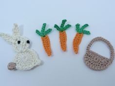 Crochê apliques Coelho de Páscoa -  /     Crochet Rabbit Easter Appliques -