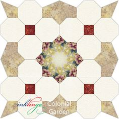 Perfect opportunity for fussy cutting!  http://www.lindafranz.com/blog/inklingo-colonial-garden-wall-hanging/