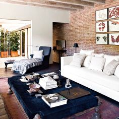 Exposed Brick Apartment | Exposed brick walls tend to look modern, but when paired with antique ...