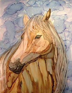 Tan horse in alcohol ink by me, Laurie Henry. Copyright 2014