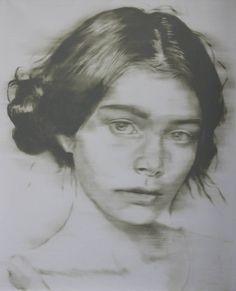 "Saatchi Art Artist János Huszti; Painting, ""Portrait of a Woman 02"" #art"