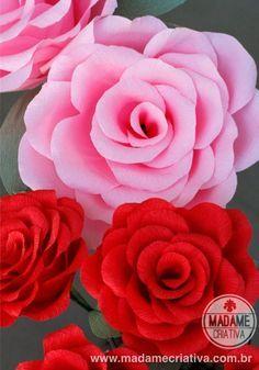 Como fazer Rosas Gigantes de Papel crepom - Dicas e passo a passo com fotos…