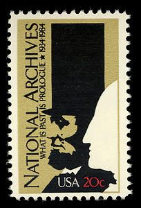 A 20-cent commemorative stamp honoring the 50th anniversary of the National Archives was issued April 16, 1984, in Washington, DC.
