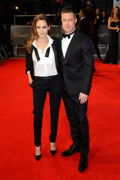 Angelina rocks her Yves Saint Laurent tuxedo and wins with her BAFTA 2014 arm candy, Brad Pitt
