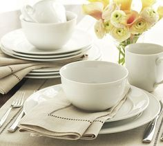 Great White Traditional Dinnerware #potterybarn