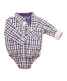 42c49224af6 Beetle   Thread Blue Gingham Button-Up Bodysuit - Infant