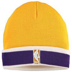 804eef053d7441 Men's Los Angeles Lakers Mitchell & Ness Yellow League Team Stripe  Beanie, Your Price