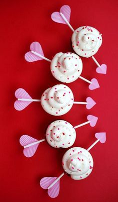 Cupid's Arrow Cupcakes for Valentine's Day