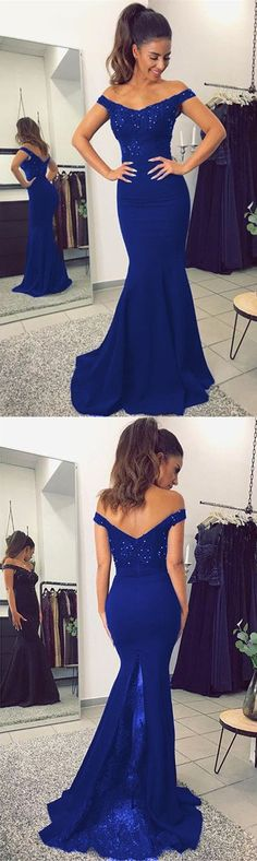 Royal Blue Mermaid Prom Dresses Lace Beaded Evening Dress V-neck Off The Shoulder