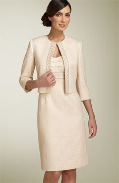 White and Gold Wedding. Mother of the Bride. Mother of the Groom. Vy arthur S. Levine Metallic Jacquard Jacket and dress