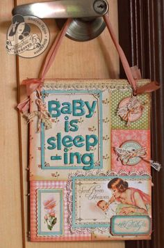 What a sweet Little Darlings door hanger by @Sharon Ngoo! What a wonderful gift for a mother-to-be in your life! #graphic45