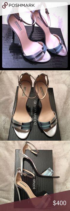 NWB Giorgio Armani High Heel leather Sandals sz 38 Brand new Beautiful silver, grey and blue high heel leather sandals. Giorgio Armani Shoes Sandals